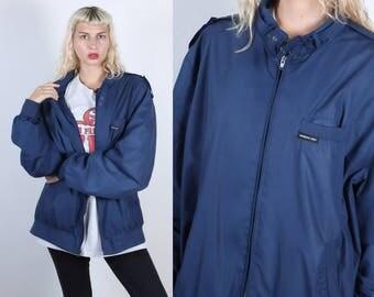 Vintage Members Only Jacket // 80s Navy Blue Windbreaker 1980s - XXL