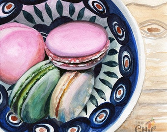 MACARON cookies in bowl vintage collectible Fine art Print FROM original watercolor by Jennifer Redstreake