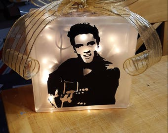 Elvis Lighted Glass Block