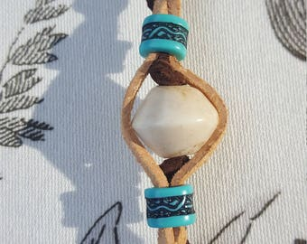 Suede cord and wooden bead bracelet
