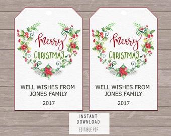 Christmas favor tag instant download, Christmas tags printable personalized, Christmas Gift Tags, holiday favor tags, Green xmas Hang Tags