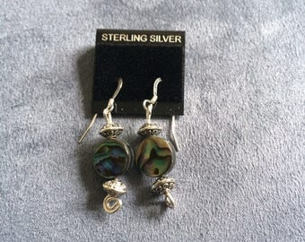 Beautiful multi-colored stone set on sterling silver wire and post