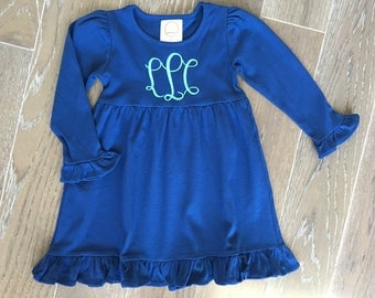 Long Sleeve Girls Ruffle Dress with Embroidered Monogram