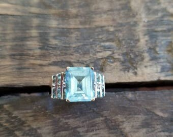 Estate Blue Topaz Statement Ring