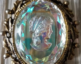 Estate Juliana D & E Style Aurora Borealis Cameo Brooch