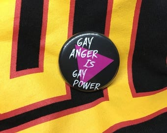 Vintage REMAKE gay rights button badge Gay Anger LGBT LGBTQ queer rights queer pride gay pride lesbian