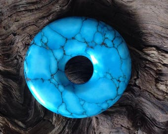 Hand Carved Turquoise Pi Disc Bead.