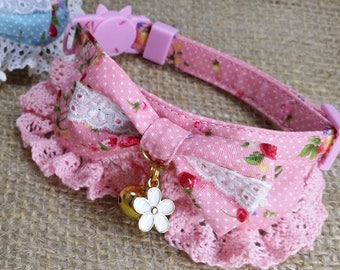 Wild strawberry-patterned pink and blue cat collars