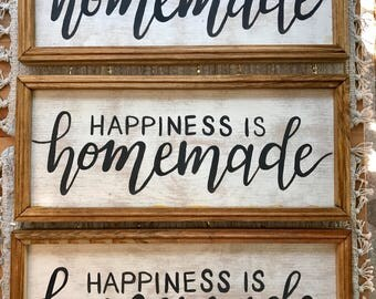 Happiness is Homemade Wooden Framed Sign