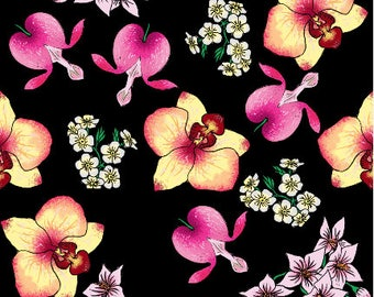 Bleeding hearts and orchid design by MadameWolfgang-  fabric - Cotton/ Polyester/ Jersey/ Canvas/ Digital Printed