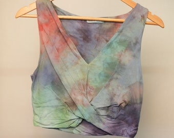 Ladies Size L/14 Crop Top - V Neck Front - Beach - Festival - Ready To Ship - Tie Dyed - 100% Cotton - FREE Shipping within Aus