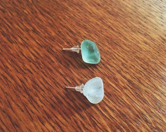 Seafoam Green and White Sea Glass | Handmade | Sterling Silver| Stud Earrings