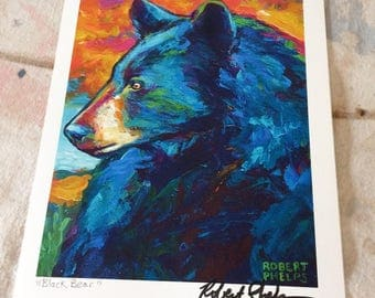 Black Bear Wildlife Art Print by Artist Robert Phelps-bear art, wildlife art print, black bear art, black bear art print, Nature art
