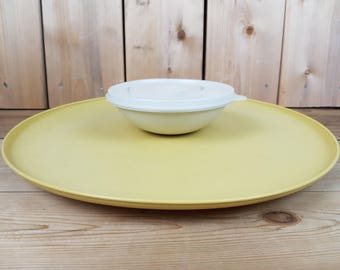 Vintage Tupperware Mustard Yellow Party 70s Platter Round Vegetable Tray with white Dip Bowl with Lid Made in Canada Mod Retro Kitchen