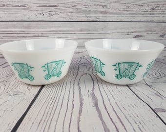 Vintage Set of 2 FireKing Federal Circus Mixing Bowl Pyrex Heat Proof Tigers in Cage Made in USA Nostalgia