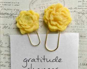 Yellow Flower Paper Clip Magnets, Yellow Flower Magnets
