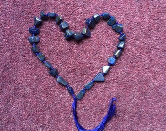 String Of 29 Lapis Lazuli With Pyrite Polished Crystal Beads
