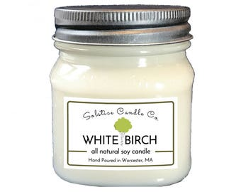 White Birch Soy Candle | Mason Jar Candle | 8 oz | Wood Wick | All Natural | Hand Poured | Nature | Woodsy | Home Decor