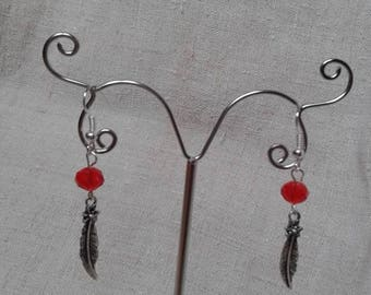 Earrings feather and Red bead