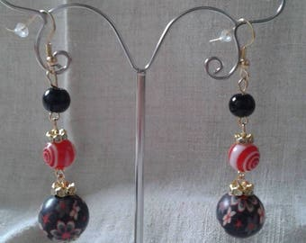 "Earrings ""duo of red and black"""