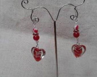 Red Zebra heart of gold earrings