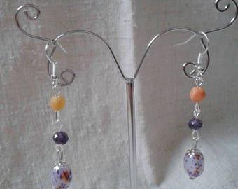 """marriage of orange and purple"" earrings"