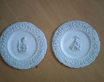 set of two decorative plates patinated white