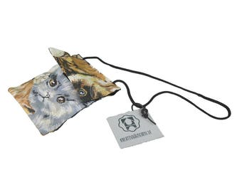 """Bag small with handle and velcro closure, money bag with allover print """"cats"""""""