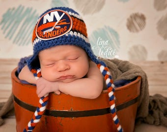 Newborn Baby Hockey Skates, Earflaps Hat, Islanders inspired, Made to Order