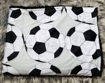 Soccer blanket-soccer decor-soccer room-soccer room-soccer mom-unique gifts-throw blanket-minky blanket