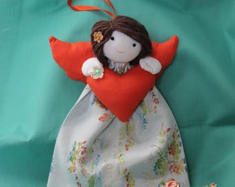 Doll/Angel to hang for decor in shades of green water/orange