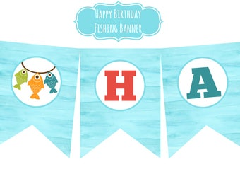INSTANT Fishing Happy Birthday Party Banner Watercolor Gone Fishing the Big One It's O-fish-al First Birthday Party Download
