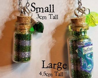 Slytherin Glitter Jar Long Necklace