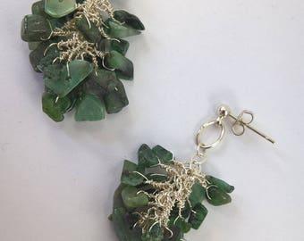 Genuine emerald cluster drop earrings, emerald earrings, emerald nugget earring, genuine emerald, earrings, green gemstone earrings.