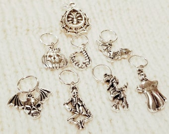 Halloween stitch markers, knitting stitch markers, stitch marker, skeleton stitch marker, ghost stitch marker, spider web stitch marker,