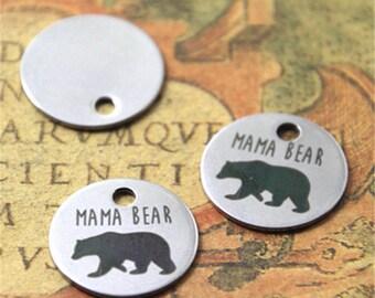 10pcs mama bear heart charm silver tone message charm pendant 20mm ASD2118