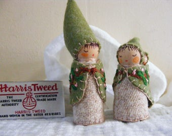 The Little Hedge Rose Family. A Faerie Papa Mama Peg Doll with Baby waldorf craft