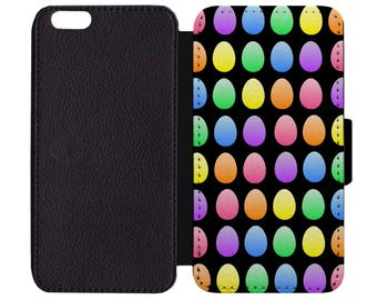 Easter Egg Rainbow Decorate Dye Festive Holiday Print Pattern Black Leather Wallet Flip Phone Case Cover Apple iPhone 5 5S 6 6S 7 Plus