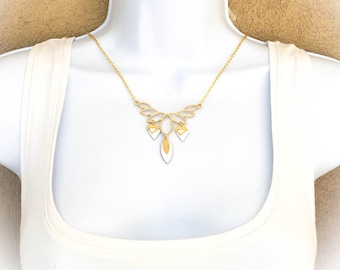 """Choker necklace chic """"white/gold"""" sequin and trend/wedding"""