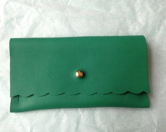 Green leather, gold clasp clutch