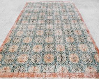 BLACK FRIDAY !!! Distressed Rug, Deco Rug, Overdyed Rug, Vintage Rug, Modern Teppich, Kilim rug, Turkish Rug 210 x 120 cm / 6.8 x 3.9 ft