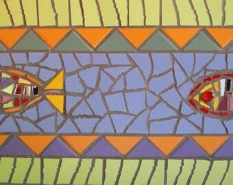 """exotic fish"" mosaic frieze 20x80cm for bathroom"