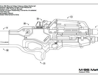 Mass Effect: M-96 Mattock Schematic Drawing