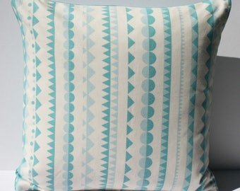 SALE Handmade geometric cushion in blue