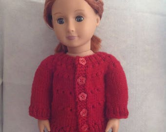 """18"""" Doll Red Knit Sweater"""