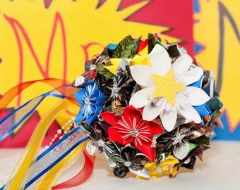 Comic Book Bouquet - Comic Book Flowers - Comic Book Wedding - Geek Wedding - Paper Flower Bouquet - Kusudama Flowers - Origami Flowers