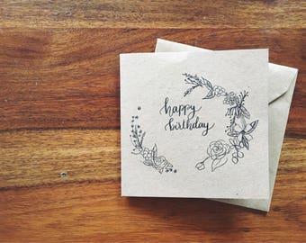 Happy Birthday Handwritten Botanical Card, Brown