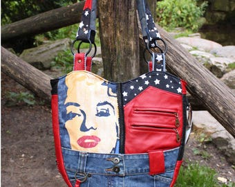 Shoulder bag, bag, leather, cotton, jeans, Upcycling