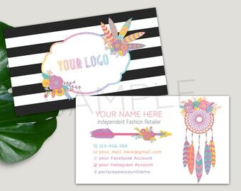 Business Cards, For Independent Fashion Retailers, Approved Fonts and Colors, Black Striped, Dreamcatcher, Boho, Feathers 3.5x2
