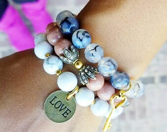 Layering bracelets charm bracelets beaded bracelets stack of bracelets accent bracelets gift for her best friend gift mom gifts bracelets